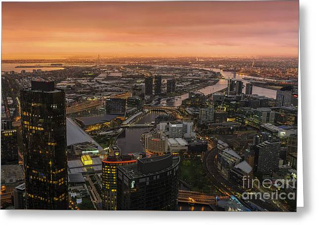Modern Photographs Greeting Cards - Moody Sunset Greeting Card by Ray Warren