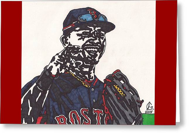 Boston Red Sox Greeting Cards - Mookie Betts 2 Greeting Card by Jeremiah Colley