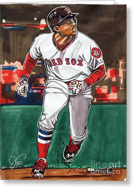 Baseball Parks Drawings Greeting Cards - Mookie Betts Greeting Card by Dave Olsen