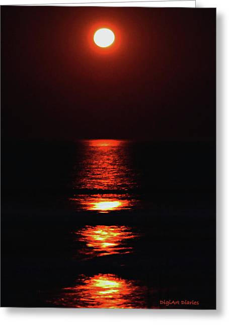 Atlantic Beaches Digital Art Greeting Cards - Moon Afire Greeting Card by DigiArt Diaries by Vicky B Fuller