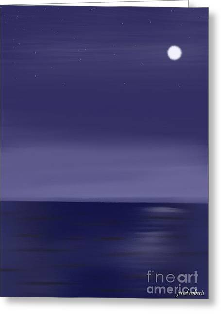 Abstract Seascape Pastels Greeting Cards - Moon and Stars Greeting Card by Jerod Roberts