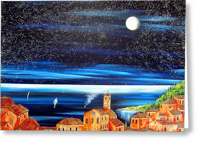 Village By The Sea Greeting Cards - Moon and Stars over the Village  Greeting Card by Roberto Gagliardi