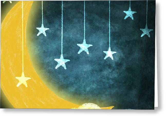 Paper Moon Greeting Cards - Moon And Stars Greeting Card by Setsiri Silapasuwanchai