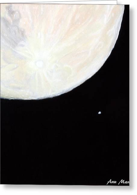 Astronomy Pastels Greeting Cards - Moon and Venus Greeting Card by Anu Mani
