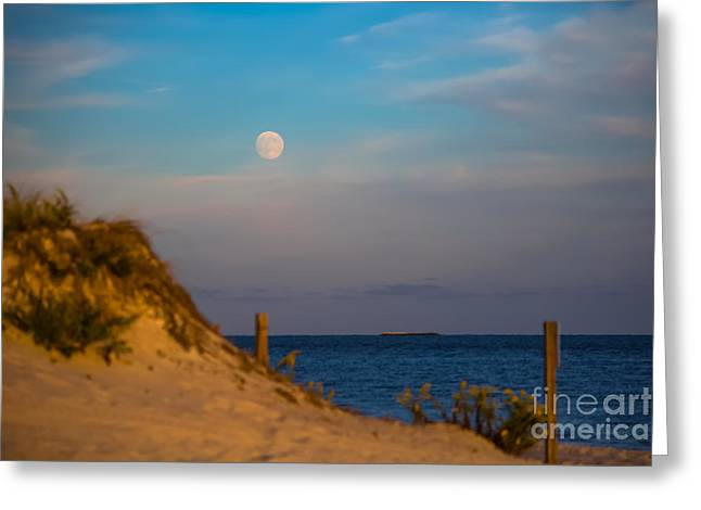 Sea Moon Full Moon Greeting Cards - Moon at Smugglers Beach Greeting Card by Laura Ragosta