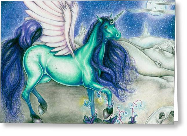Black Winged Unicorn Greeting Cards - Moon Blossoms Greeting Card by Kristin Lewis