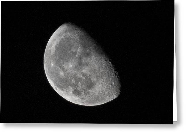 Moon Craters In Cosmic Waning Gibbous Lunar Phase Greeting Card by Aaron Sheinbein
