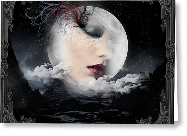 Grey Clouds Greeting Cards - Moon face 2 Greeting Card by Ali Oppy