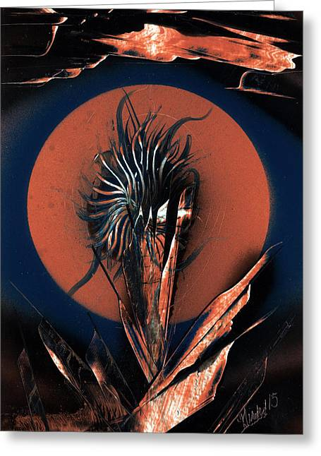 Planetoid Paintings Greeting Cards - Moon Flower Greeting Card by Jason Girard