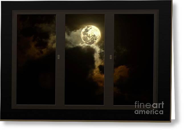 Dark Skies Greeting Cards - Moon from my Living Room Greeting Card by Kaye Menner