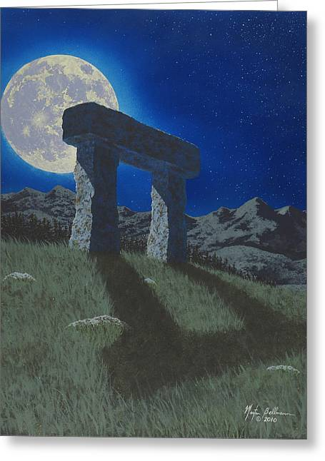 Nocturnal Paintings Greeting Cards - Moon Gate Greeting Card by Martin Bellmann