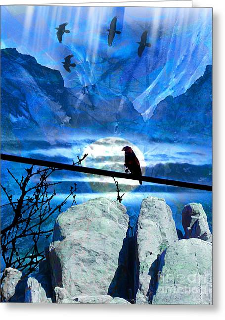 Nature Greeting Cards - Moon Gazing Greeting Card by Robert Ball