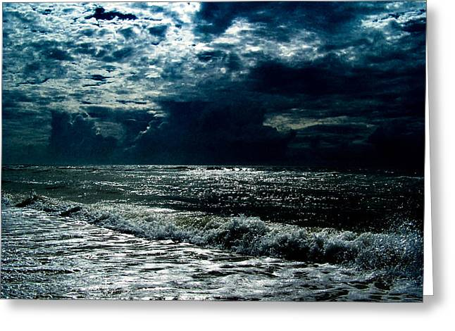 Beach At Night Greeting Cards - Moon Glow over ocean Greeting Card by Kathleen Golden