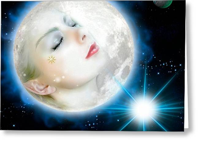 Moonlight Goddess Greeting Card by G Berry