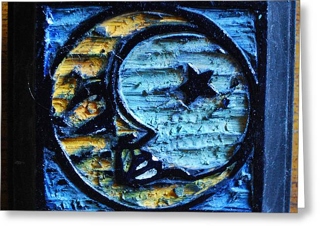 Star Reliefs Greeting Cards - Moon Greeting Card by Leigh Ann Lockheart