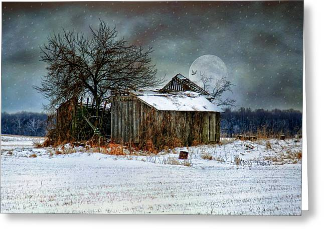 Snow Tree Prints Digital Greeting Cards - Moon Light Barn Greeting Card by Mary Timman