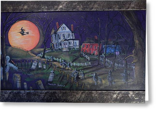 Trick-or-treaters Greeting Cards - Moon Lights The Way Greeting Card by Theresa Prokop