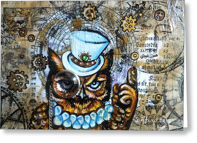Cog Paintings Greeting Cards - Moon Logic Greeting Card by Anna Griffard