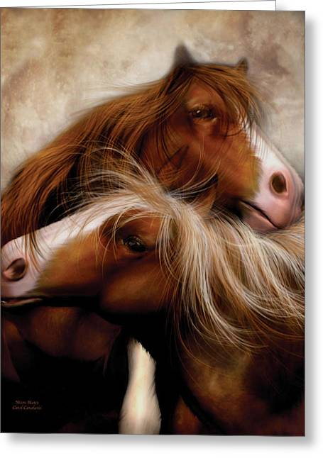 Horse Mixed Media Greeting Cards - Moon Mates Greeting Card by Carol Cavalaris