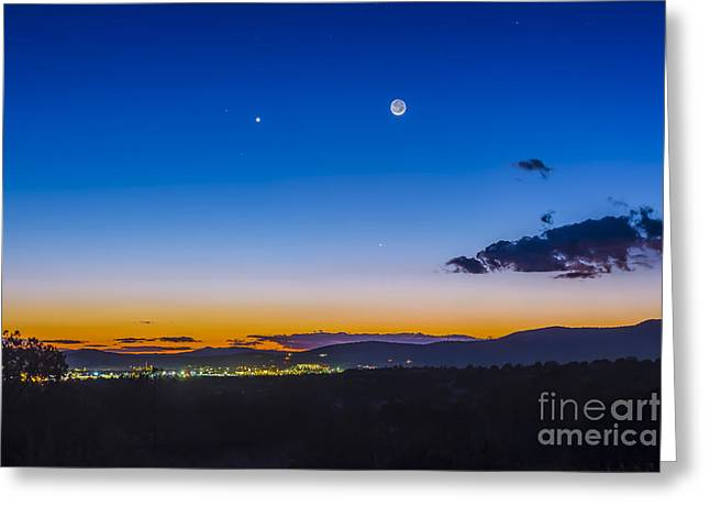 Silver City Greeting Cards - Moon, Mercury & Venus Conjunction Greeting Card by Alan Dyer