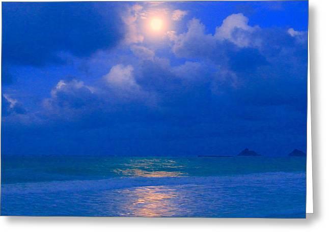 Sea Moon Full Moon Greeting Cards - Moon on Saturday Night Greeting Card by Robert Abbett