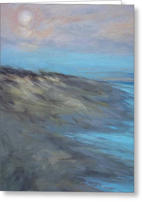 New England Ocean Greeting Cards - Moon On The Dune Greeting Card by Lisa  Ridabock