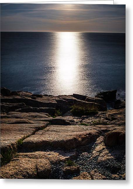 Recently Sold -  - Maine Lighthouses Greeting Cards - Moon Over Acadia Shores Greeting Card by Brent L Ander