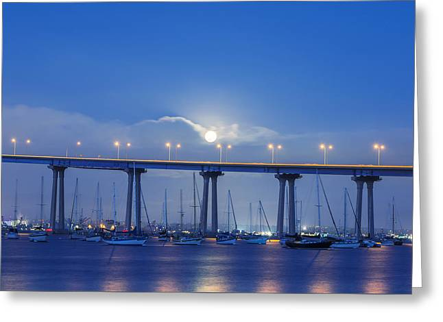 Urban Images Greeting Cards - Moon over Coronado Greeting Card by Joseph S Giacalone