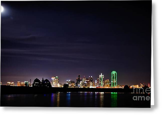 Artistic Vision Greeting Cards - Moon over Dallas Greeting Card by Charles Dobbs