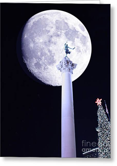 Union Square Greeting Cards - Moon Over Dewey Greeting Card by Wingsdomain Art and Photography