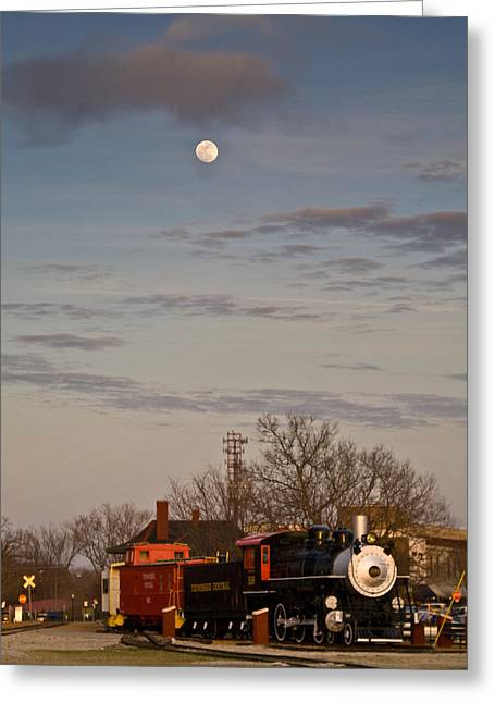 Caboose Greeting Cards - Moon Over Engine 509 Greeting Card by Douglas Barnett