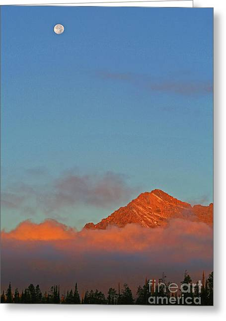 Moon Over Grand Tetons Greeting Card by Brent Parks