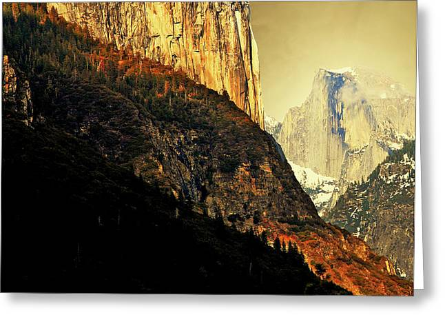 Moon Over Half Dome . Portrait Cut Greeting Card by Wingsdomain Art and Photography