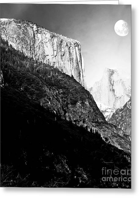Bierstadt Greeting Cards - Moon Over Half Dome . Black and White Greeting Card by Wingsdomain Art and Photography