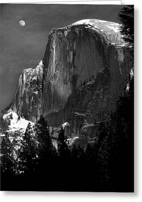 Half Dome Greeting Cards - Moon Over Half Dome Greeting Card by Jim Dohms