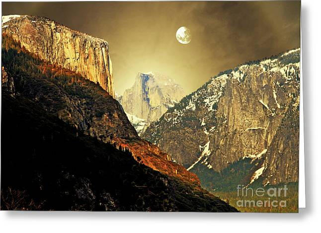 Domes Mixed Media Greeting Cards - Moon Over Half Dome Greeting Card by Wingsdomain Art and Photography