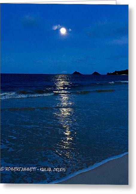 Moonshine On The Beach Greeting Cards - Moon Over Kailua Greeting Card by Robert Abbett