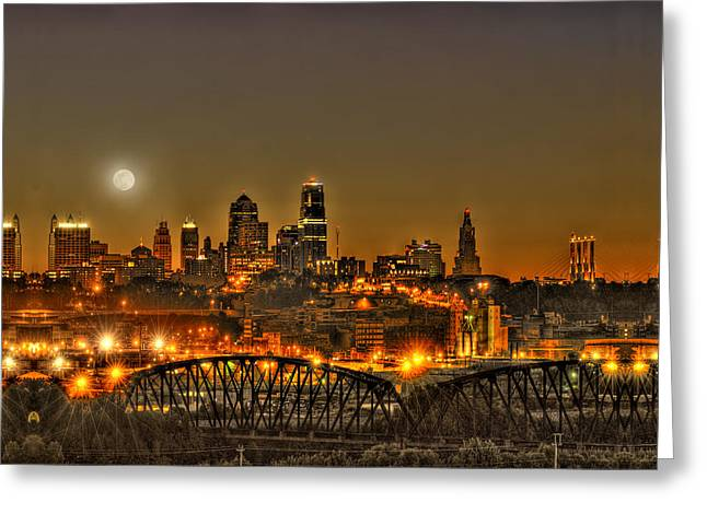 Kansas City Photographs Greeting Cards - Moon Over Kansas City Mo Greeting Card by Don Wolf