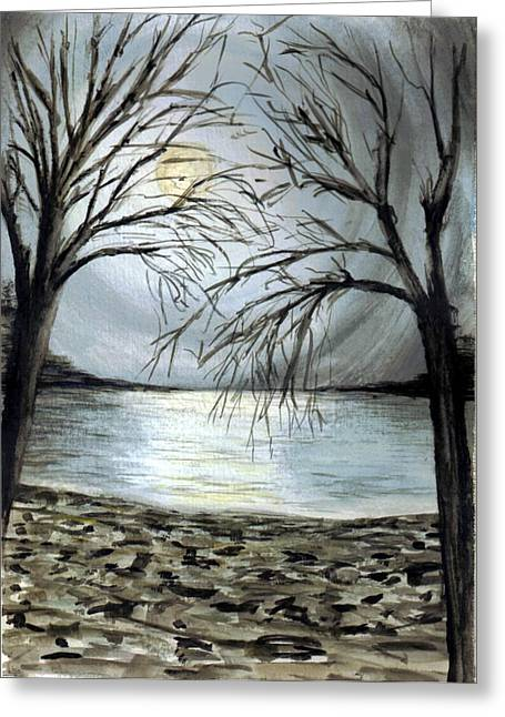 Moon Over Lake Greeting Card by Terence John Cleary