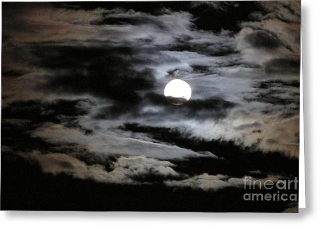 Dark Skies Glass Greeting Cards - Moon Over Matter Greeting Card by Catherine DeHart