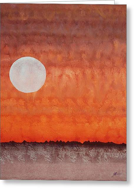 Pen And Paper Greeting Cards - Moon over Mojave Greeting Card by Sol Luckman