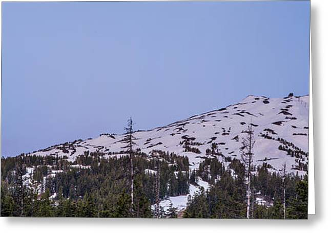 Sunriver Greeting Cards - Moon over Mount Bachelor Greeting Card by Twenty Two North Photography