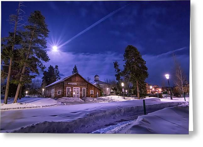 Creek Greeting Cards - Moon Over Museum Greeting Card by Michael J Bauer