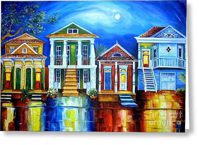 Building. Home Greeting Cards - Moon Over New Orleans Greeting Card by Diane Millsap
