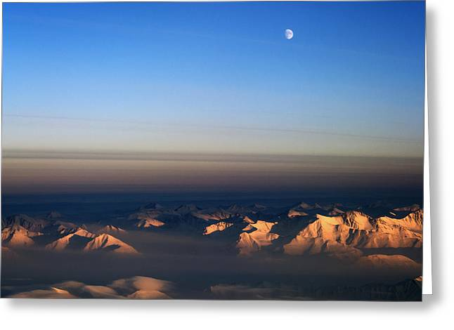 The North Pyrography Greeting Cards - Moon over northeast Greenland. Greeting Card by Artistic Panda