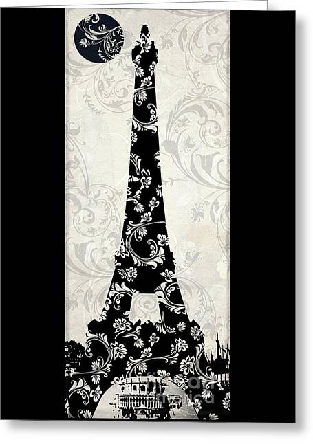 Paris Paintings Greeting Cards - Moon Over Paris Greeting Card by Mindy Sommers