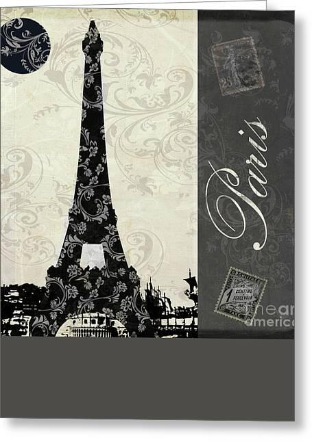 Paris Paintings Greeting Cards - Moon Over Paris Postcard Greeting Card by Mindy Sommers