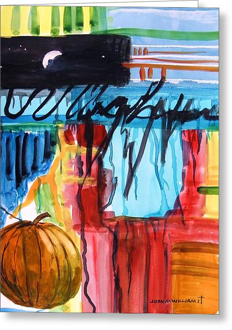 Vivid Colour Drawings Greeting Cards - Moon Over Pumpkin Greeting Card by John  Williams