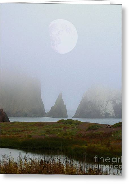 Moon Over Rodeo Beach Greeting Card by Wingsdomain Art and Photography