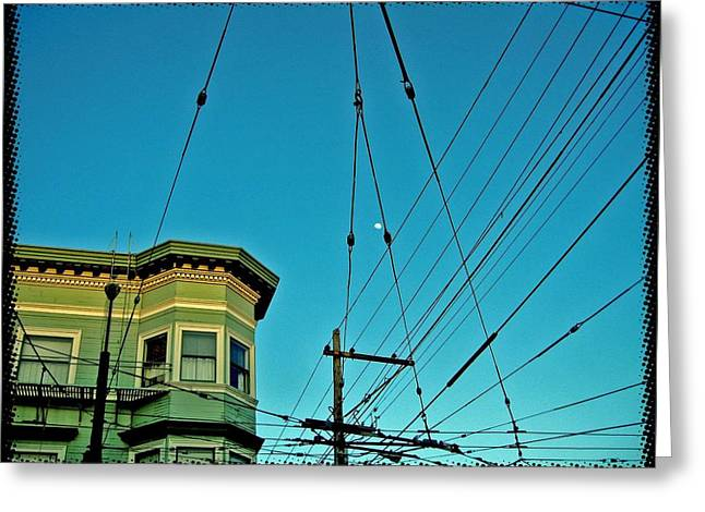Bonnie Rose Art Greeting Cards - Moon Over San Francisco Greeting Card by Bonnie Rose Parent